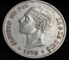 Spain 5 Pesetas, 1878 D.E.M. .900 Silver Crown #7