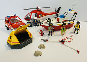 Playmobil Coast Guard Life Raft Truck / Boat / Helicopter Figures Bundle Lot
