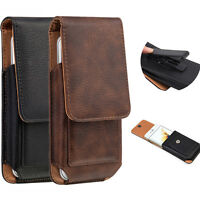 VERTICAL SWIVEL HOLSTER BELT CLIP LEATHER CARD SLOTS CASE POUCH FOR CELL PHONE