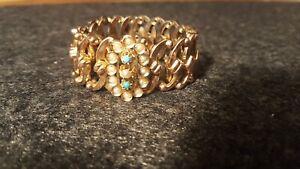 Altes antikes Biedermeier Armband gestempelt, Schaumgold mit Saatperlen Türkise