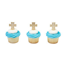 Cross Christian Gold Scrolls Easter cupcake picks (24) favor cake topper 2 doz