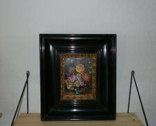 signiert kleines Gemälde Ölgemälde Bild Blumenbild Jugendstil Biedermeier Barock