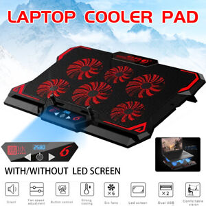 Laptop Cooling Pad 17in Gaming Cooler Stand Notebook Mat Six Fan Led Screen