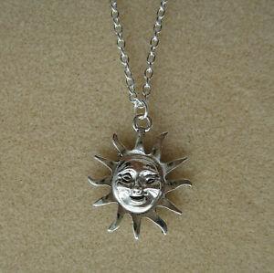 "Celestial Sun Face God Pendant 21"" Chain Necklace in Gift Bag - Summer Smile"
