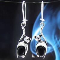 Onyx Silber 925 Ohrringe Damen Schmuck Sterlingsilber H100