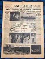 La Une Du Journal Excelsior Dimanche 22 Mai 1927 Lindberg À Triomphé