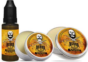 Whiskey on Rocks Beard Balm, Moustache Oil & Moustache Wax Set