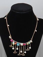 Betsey Johnson Goldtone CRABBY COUTURE Multi Stone Dangling Fish Collar Necklace