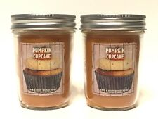 LOT 2 BATH & BODY WORKS HOME PUMPKIN CUPCAKE MASON JAR 6 OZ SCENTED CANDLE