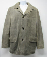 Vtg LUCKY BRAND Dungarees Green Tan Distressed Leather Button Down Jacket Mens M