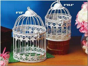 Small Decorative WHITE Metal Bird Cage GRAPE LEAF Design Wedding Choose Size