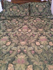 Croscill  Queen Dk Gr Tapestry Comforter Pillows Shams RN 21857 Floral USA 94x99