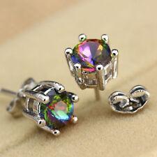 Women Chic Silver Clear Round Rainbow Zircon Crystal Ear Studs Earrings Jewelry