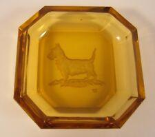 Art Deco Heinrich Hoffman Intaglio Scottie Dog Amber Glass Dish Czech