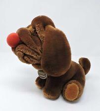 "Ganzbros Wrinkles Dog Plush Brown 12"" Soft Toy 1981 Korea Stuffed Animal"