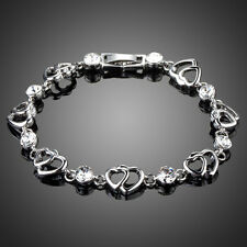 Fashion Sparkly Shiny Clear White Czech Rhinestone Love Heart Bracelet Jewellery