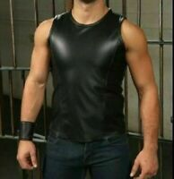 Men's Leather Black Sport Tank Top Shirt Sleeveless Fitted Fetish Shirt