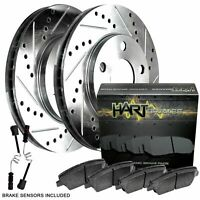 Toyota AVALON 2000-2004 Brake Rotors FRONT+REAR ELINE DRILLED SLOTTED
