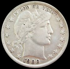 1900 SILVER UNITED STATES BARBER HALF DOLLAR COIN EXTREMELY FINE CONDITION