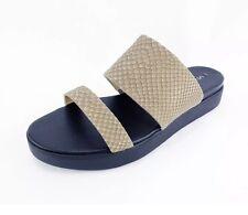NIB Via Spiga Carita Dk Taupe Snake Leather 2 Band Sandal US 6