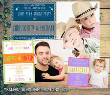 10 Personalised Birthday Party Invitations Boy Girl Joint 1st 30th Photo Stars