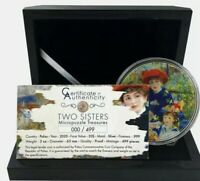 TWO SISTERS Renoir Micropuzzle Treasures 3 Oz Silver Coin 20$ Palau 2020