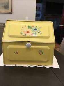 Vintage Tin Metal Pie Safe Bread Box Double Door Yellow Floral C44NH