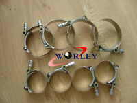 """8 x 2.5"""" Inch / 63mm ID Stainless Steel T-Bolt Silicone Hose pipe Clamps 66-74mm"""