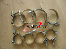 "8 x 2.5"" Inch / 63mm ID Stainless Steel T-Bolt Silicone Hose pipe Clamps 66-74mm"