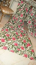 BEAUTIFUL ANTIQUE FRENCH PINK GREEN FLORAL DRAPES CURTAINS PANELS