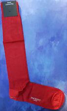 Hackett Mayfair London Mens Long Silk Socks Size Large Hackett Logo Red HMU50263