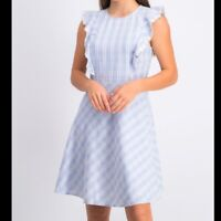 DRAPER JAMES Collection Linen Embroidered Dress Blue Multi DRW0469 Sz. 6