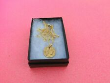 """Roman Ancient Fashion Coin Pendant & 18K Gold Filled Figaro 20"""" Necklace & Box"""