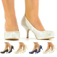 Nuevas señoras Boda Prom Noche Zapatos De Plataforma Diamante Mid Tacones Talla 38