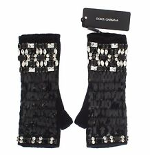 NEW $1100 DOLCE & GABBANA Gloves Black Cashmere Crystal Finger Less Wrist s. L