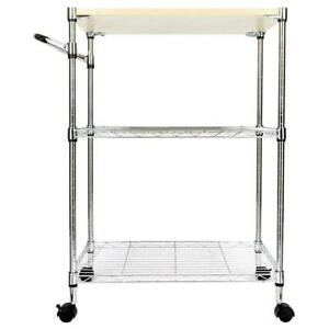 New Chrome 3-Tier Kitchen Cart Trolley Wire Rolling Utility Storage Rack Food