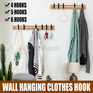 Wooded Hanger Removable Adjustable Clothes Rack Wall Door Hanging 4/5Hooks * D