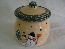 Stoneware Green Sponge Winter Holidays Christmas Cookie Jar Country Snowman