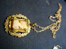 RARE VERMEIL OLD PAWN CAMEO ESTATE 925 STERLING SILVER NECKLACE