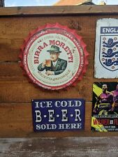 More details for birra moretti beer bottle cap advertising picture/sign 35cm metal sign large