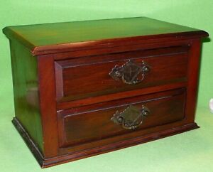 Vintage reclaimed / repurposed dresser top WOODEN BOX w/ 2 DRAWERS. Ornate pulls