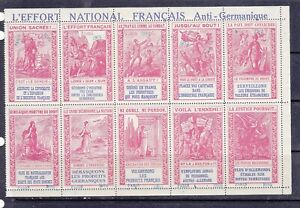POSTER STAMPS, COMPLETE SHEET, 10 FRENCH MILITARY ANTI GERMAN LABELS.