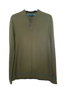 Ted Baker men's sweater size 4 L moss green 100% cotton Used