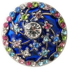 CLASSIC SNAPS SNAP CHUNK CHARMS-DEEP BLUE ENAMEL BACKGROUND W/MULTI COLOR CRYSTA