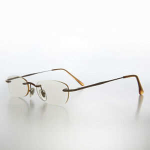 Brown Rimless Tinted Rectangular Lens Reading Glasses 2.25 diopter- Ryn