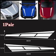 2Pcs 12*80cm Car Bonnet Hood Cover Vinyl Decals White Racing Sport Stripe Style