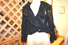 [0015] ILANA WOLF  BLACK LACE RUFFEL LADIES JACKET /TOP / WRAP SIZE L MADE IN US