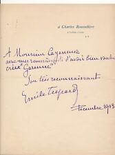 Compositeur Emile Trépard signature autographe Maurice Cazeneuve Garenne 1913