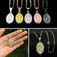 Unisex Stainless Steel Religiou Virgin Mary Pendant Chain Women Necklace Jewelry