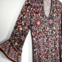 Max Studio Black Purple Floral Womens S 3/4 Bell Sleeve Dress Nordstrom
